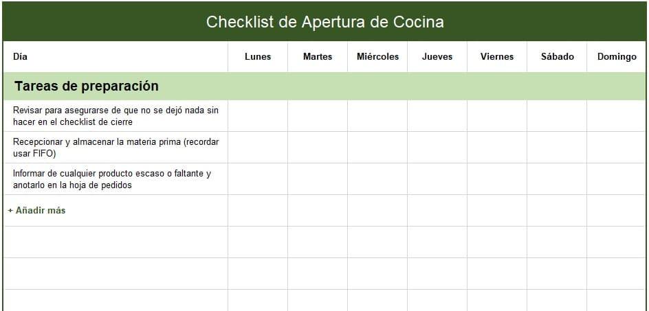 checklist de apertura