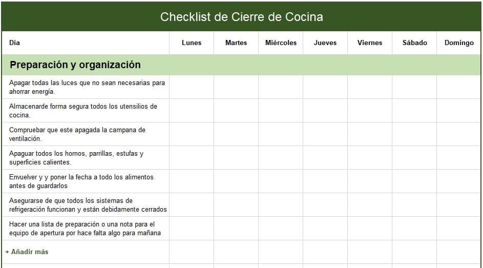 checklist de cierre