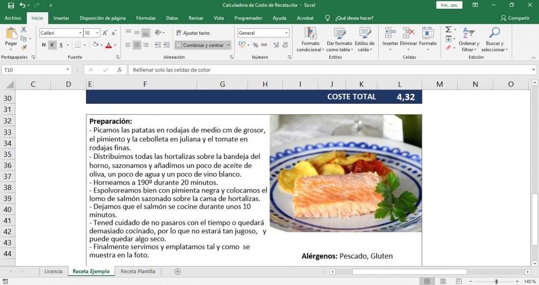 Calculadora de costo de alimentos en Excel