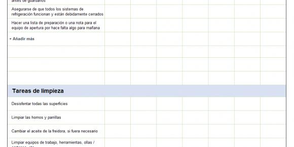 Checklist de cocina descarga Excel gratis