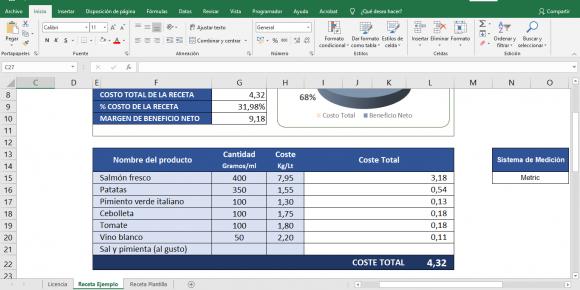 Control de costo de alimentos planilla Excel