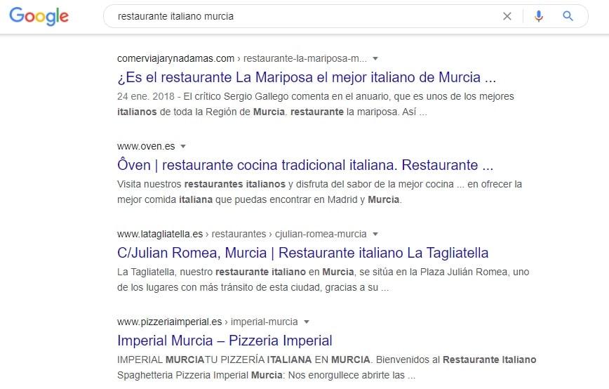 Ejemplo de seo para restaurantes