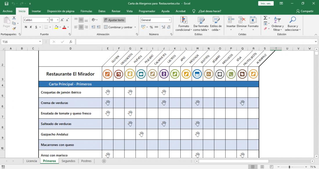 Carta de alergenos descargar plantilla Excel