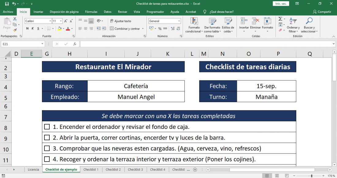 Checklist de tareas para restaurantes Plantilla