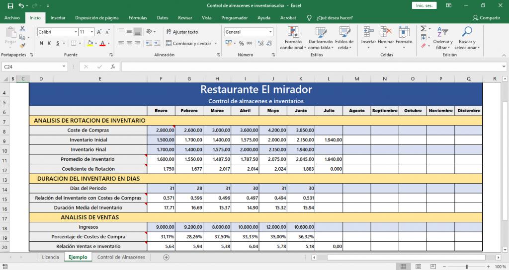 Control de almacenes e inventarios para restaurantes