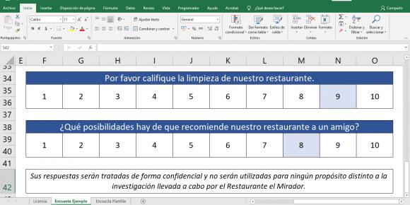 Encuesta de calidad para restaurantes en Excel