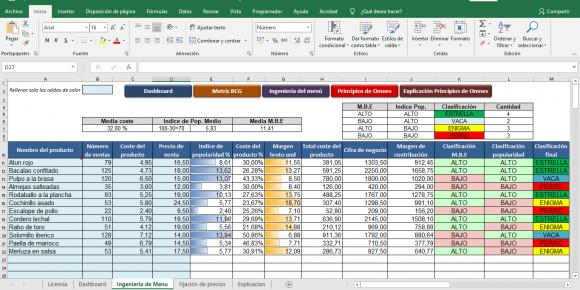 Ingenieria del menu Excel para descargar