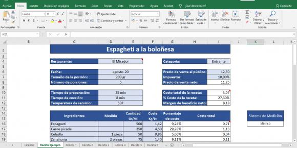 Receta estandarizada plantilla Excel