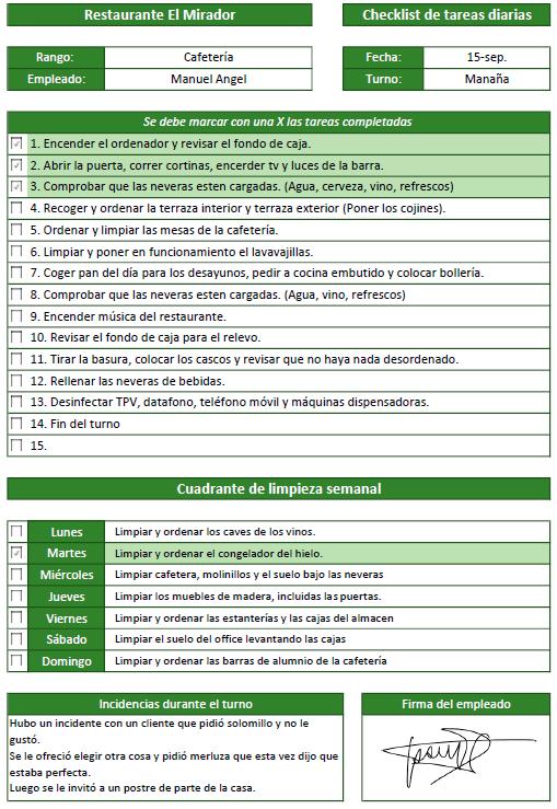 checklist de apertura y cierre del restaurante