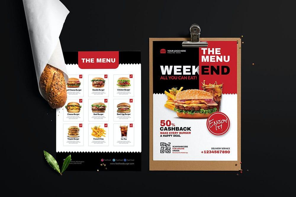 carta de restaurante de comida rápida