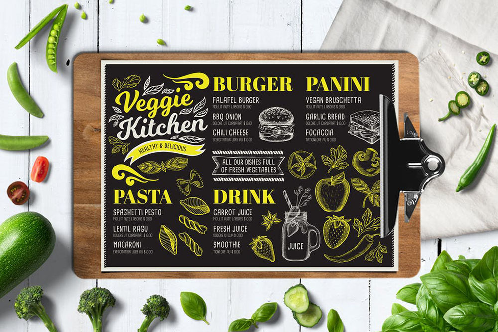idea de carta de comida vegana