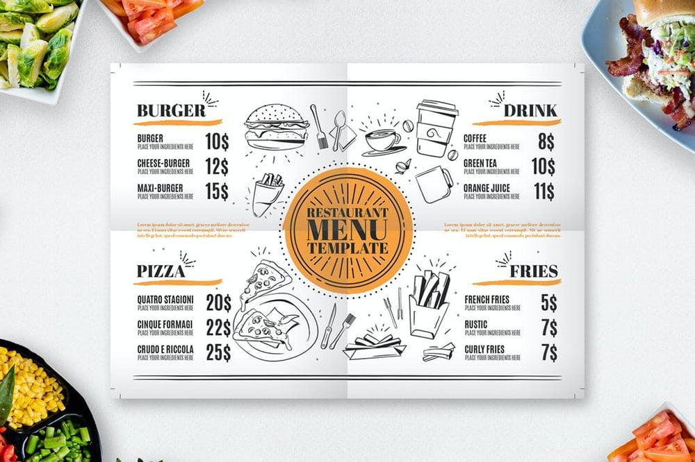 carta de hamburguesas y pizzas