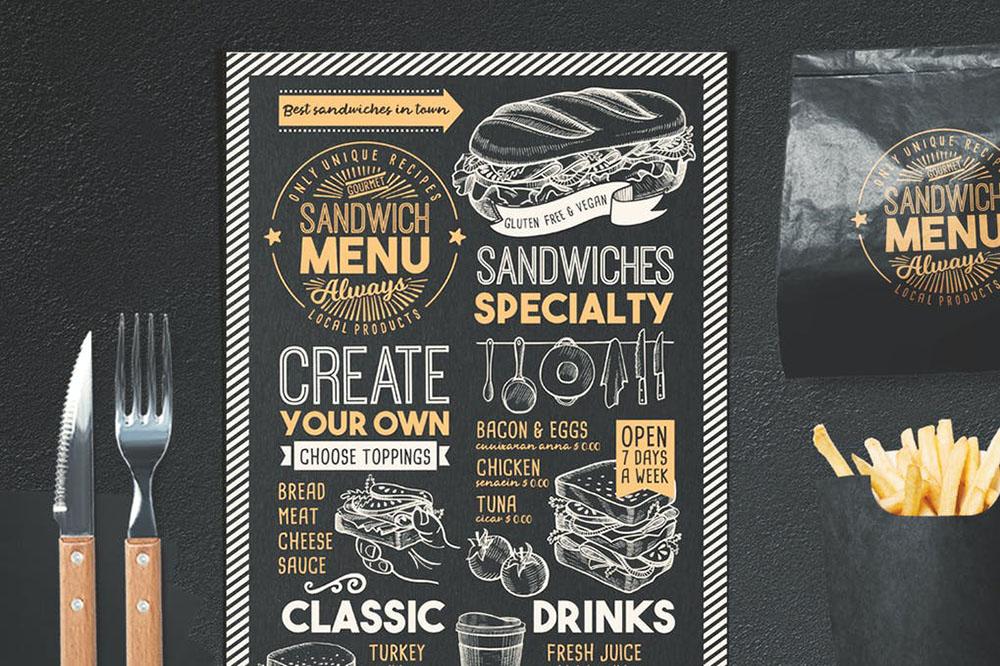idea para menú de sandwiches