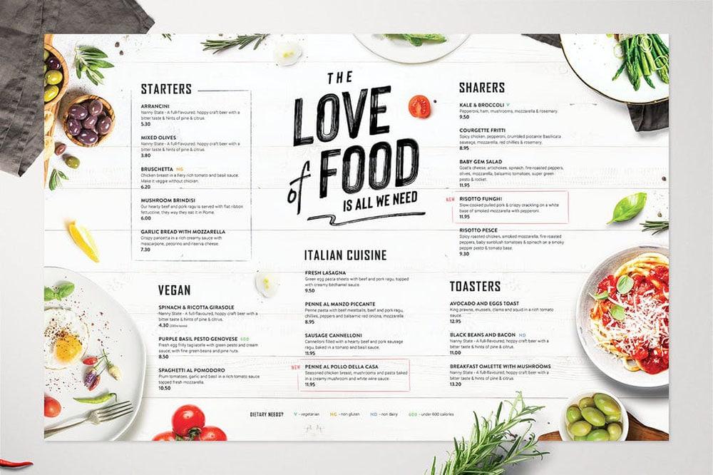 diseño de menú ecológico