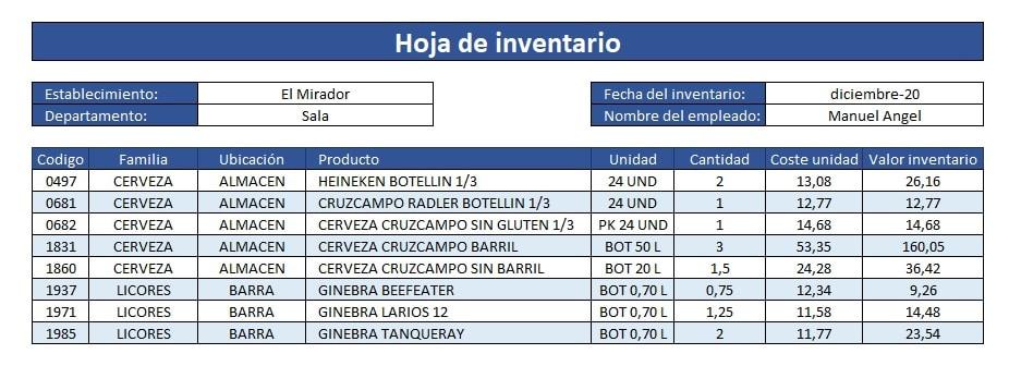 Inventario de bar plantilla Excel gratis