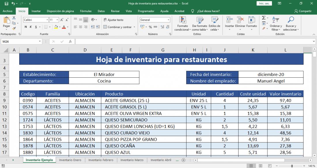 inventario de cocina para restaurantes
