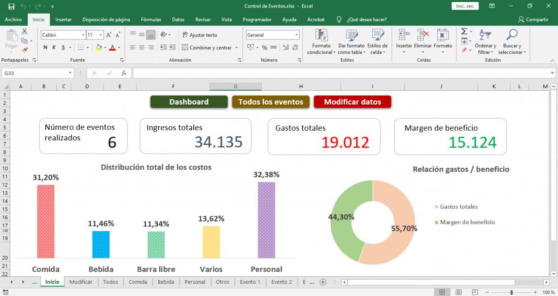 Plantilla de presupuesto para eventos Excel