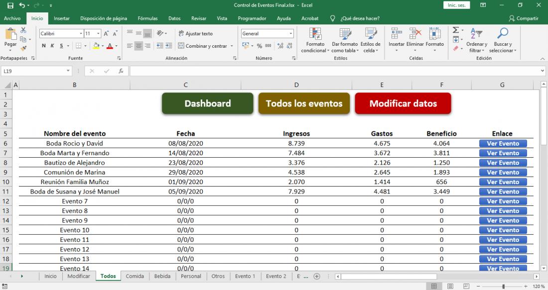 Presupuesto eventos Plantilla Excel