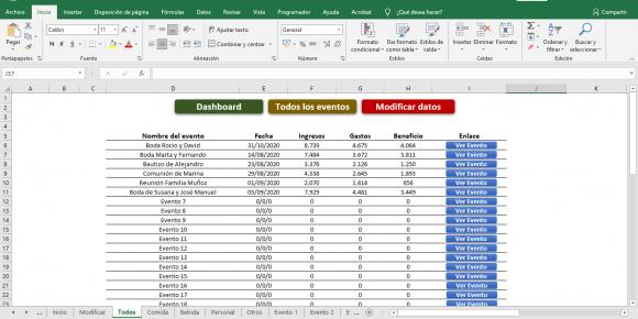 Presupuesto para Eventos Plantilla Excel