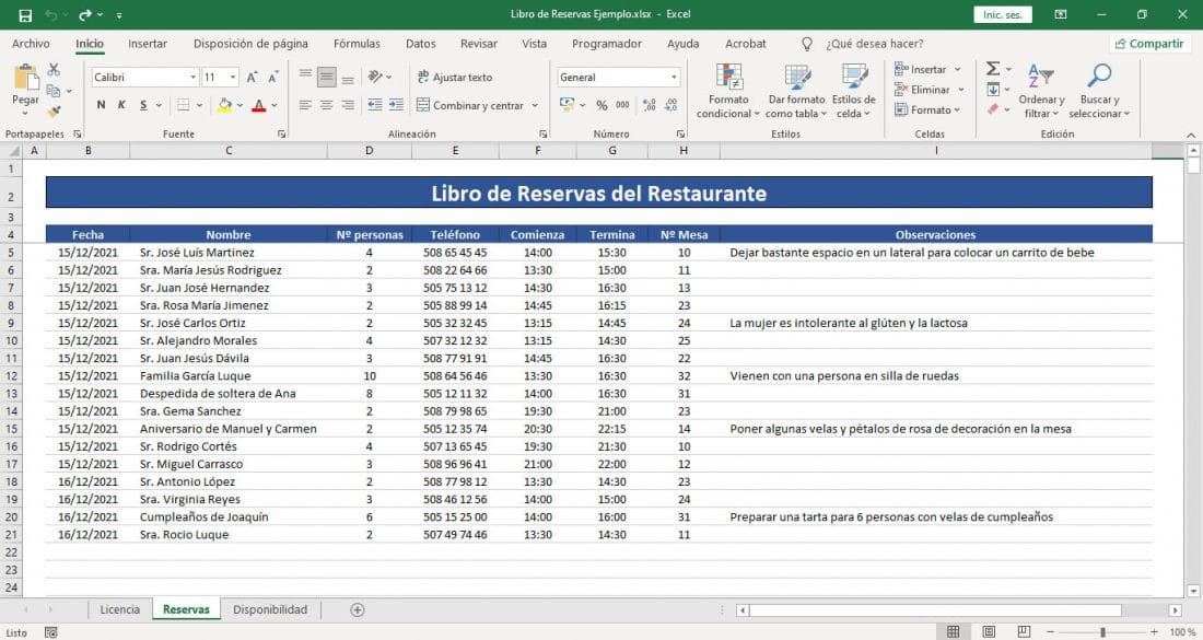 Libro de reservas plantillas Excel gratis