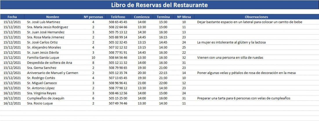 Libro de reservas restaurante para imprimir