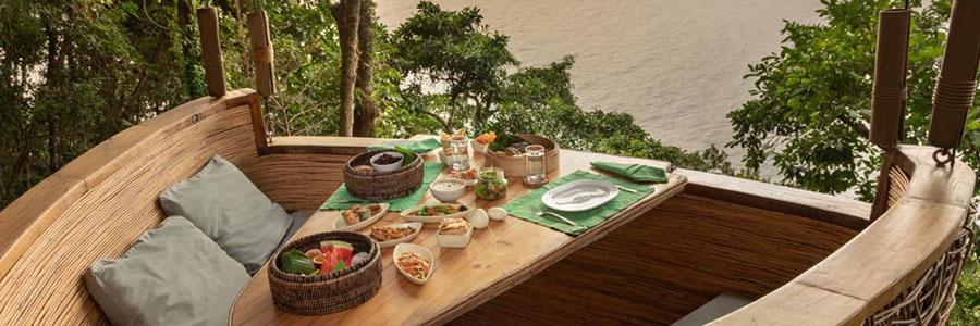 regalar una comida romántica en un restaurante en el bosque